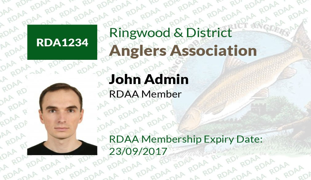 Front details of ringwood and district angling association membership card