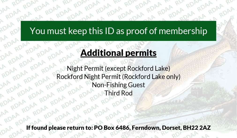 Rear details of ringwood and district angling association membership card